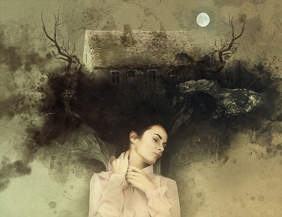 Mujer con casa en el pelo representando cómo afrontar nuestros miedos