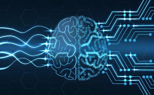 Ilustración de un cerebro físico y digital
