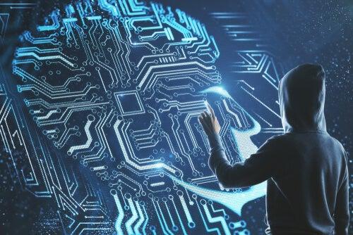 Hombre hackeando cerebro