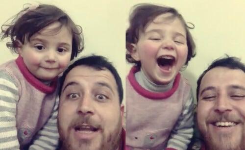 El padre sirio que ayuda a su hija a reírse de las bombas