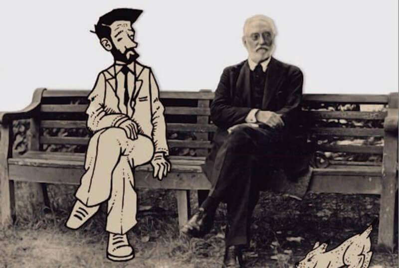 Unamuno sentado en un banco junto a un personaje