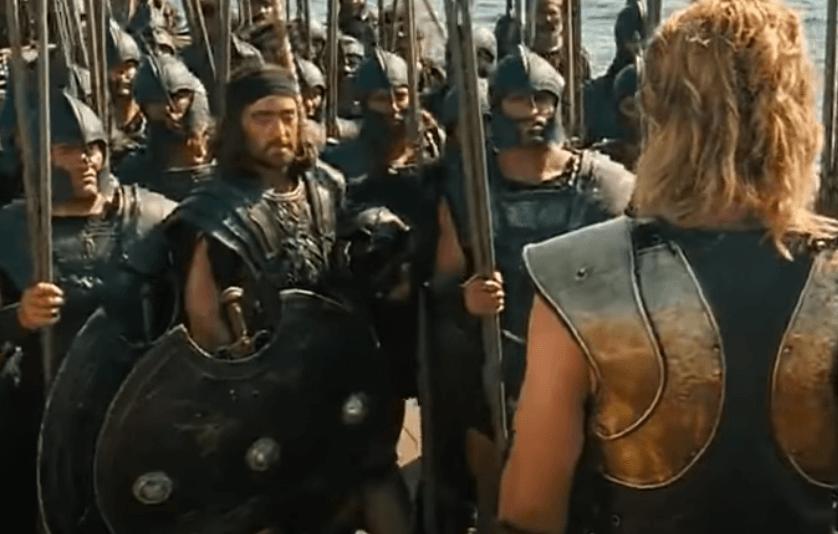 Aquiles con ejército de guerreros