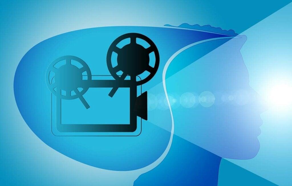 Máquina de cine en la mente de una persona