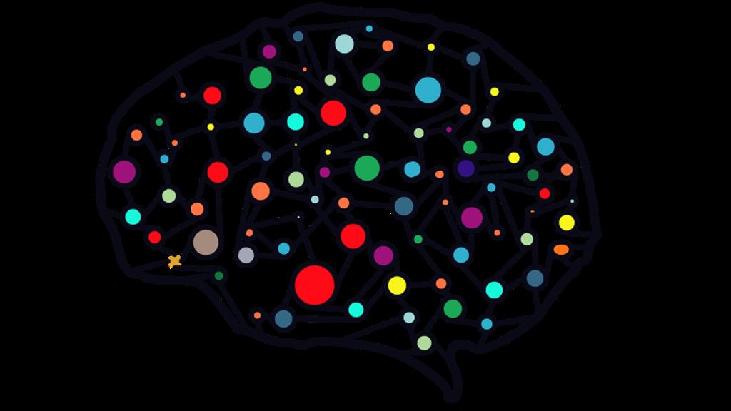 Cerebro de colores representando el proceso de descomponer objetos