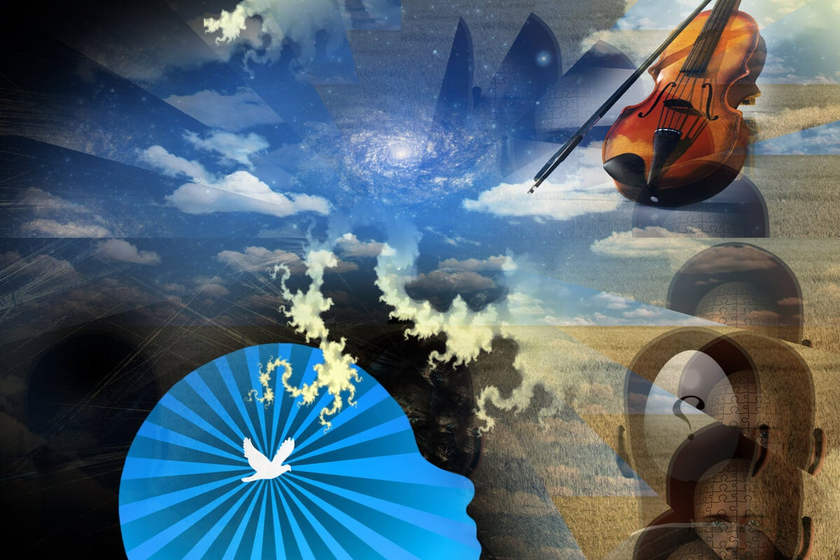 Pintura de una mente, el cielo y un violín