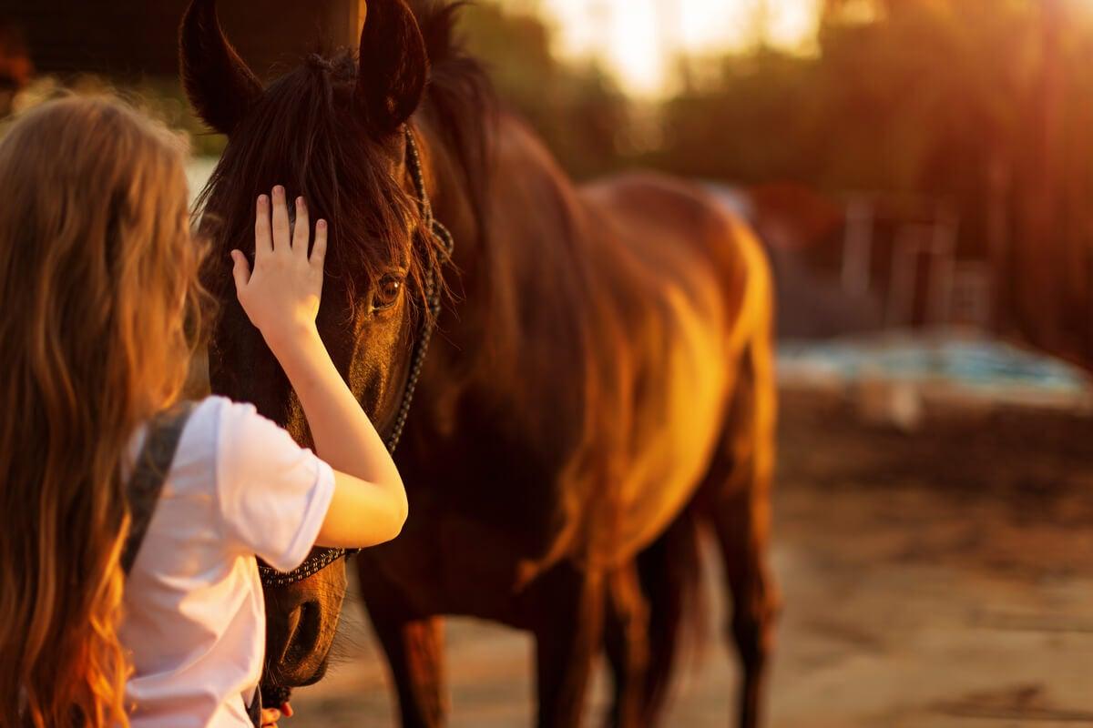 Mujer superando su miedo a los caballos