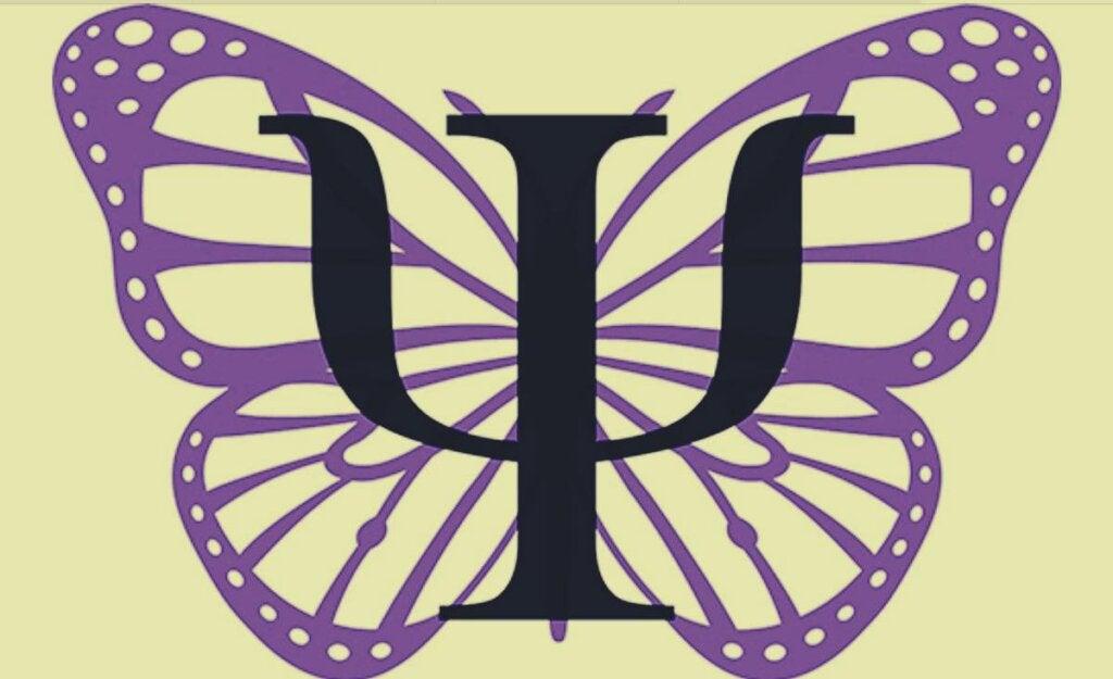 Mariposa con el símbolo de la psicología