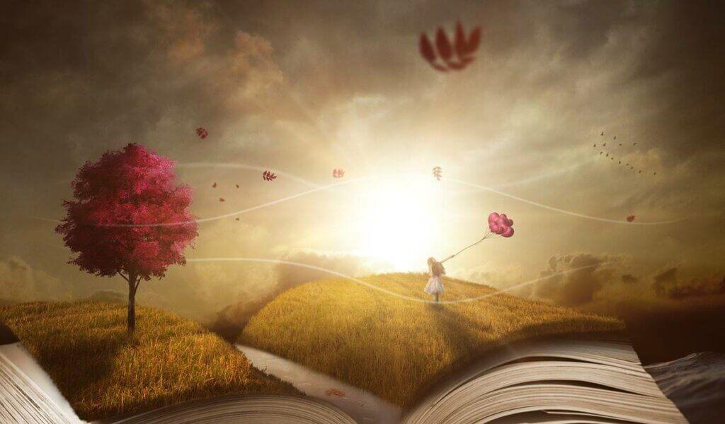 Libro abierto con una niña