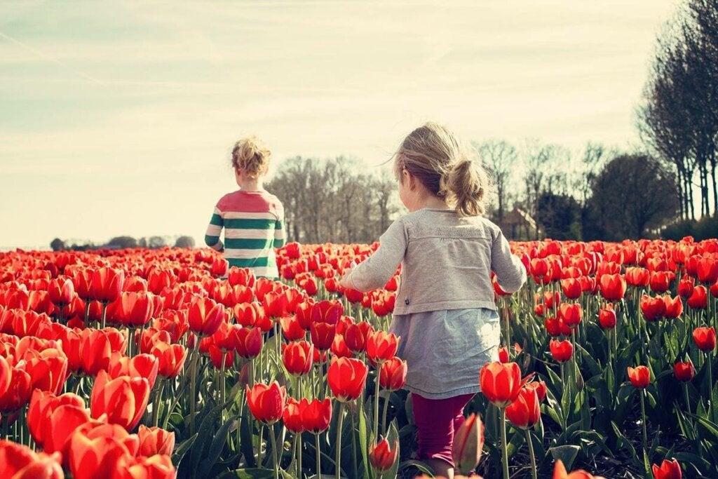 Niños entre tulipanes representando las habilidades socioemocionales