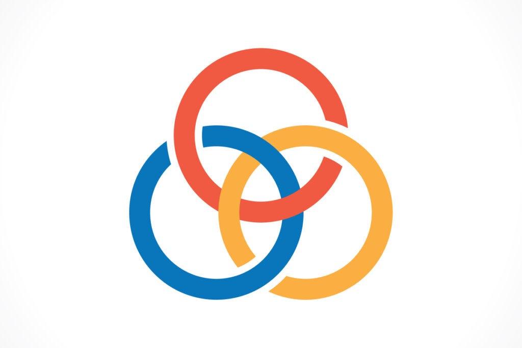 Tres anillos enlazados para representar el nudo borromeo