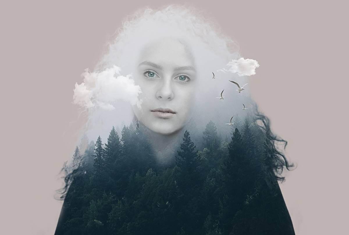 Mujer de nubes y bosques