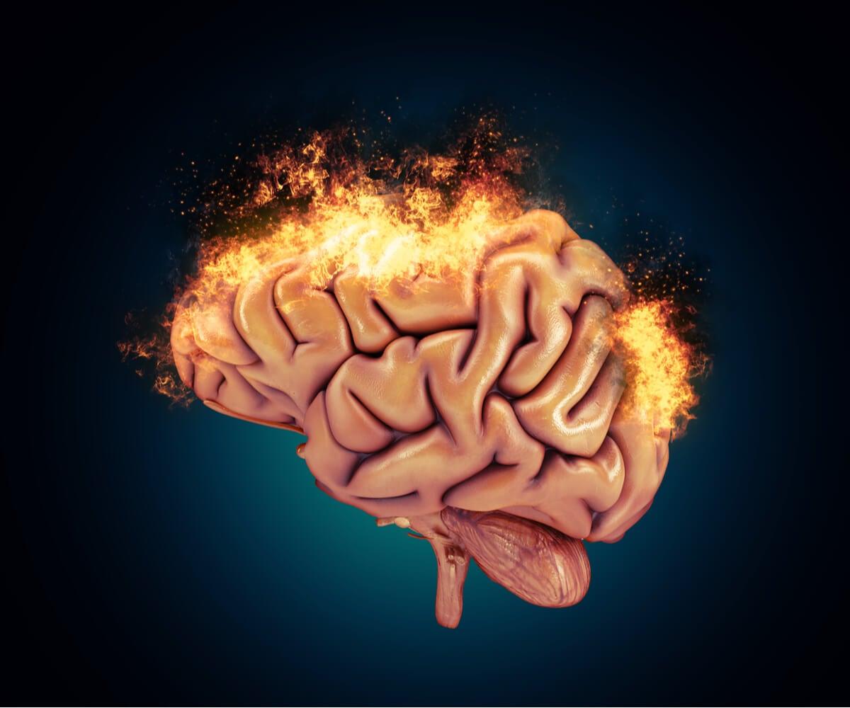 Cerebro ardiendo para representas las bases neurológicas de la agresividad