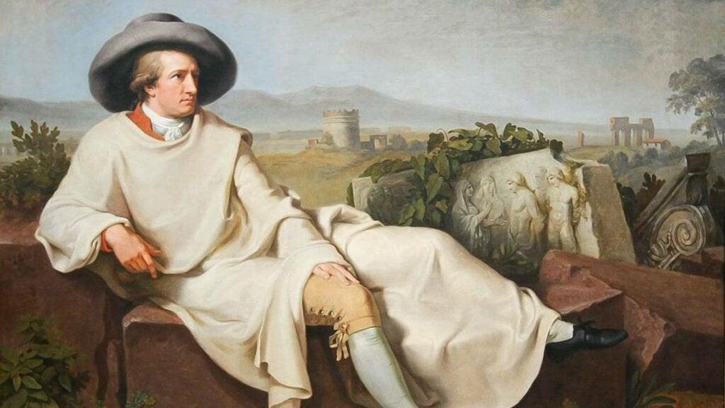 lienzo representando la teoría de los colores de Goethe