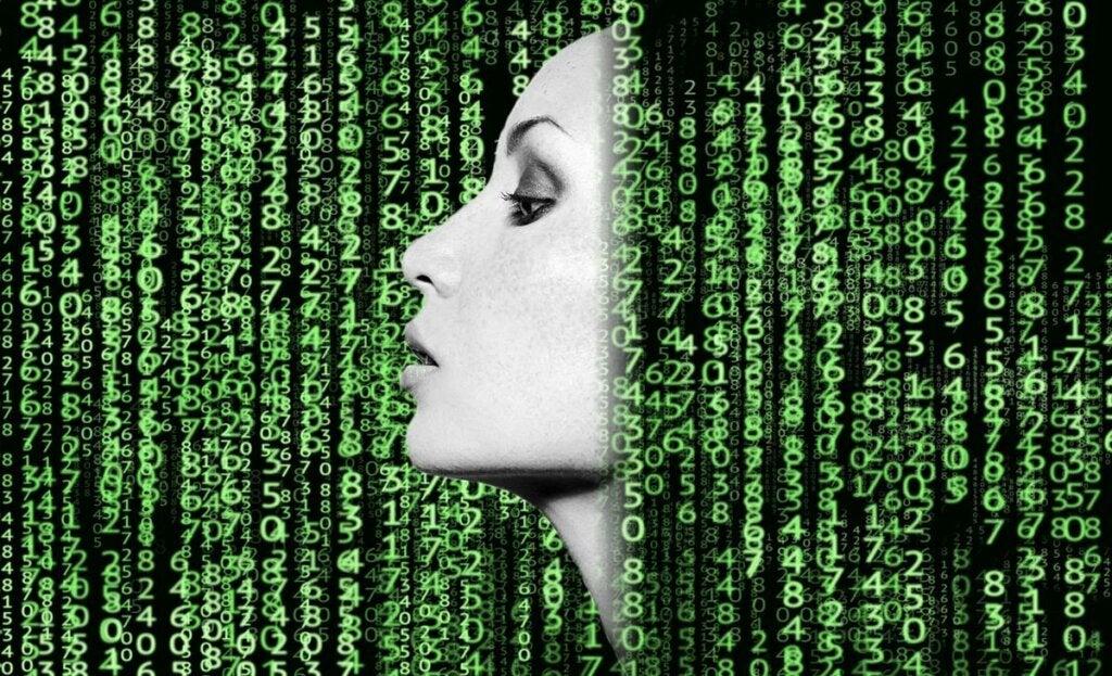 numeros entre rostro para representar la ciberpsicología