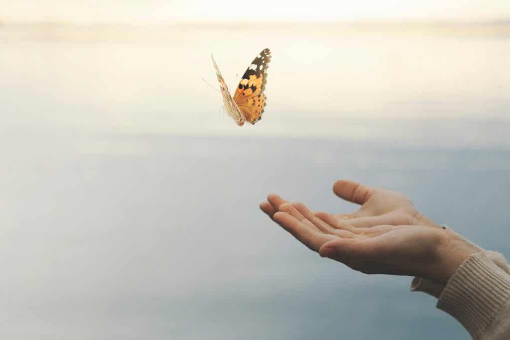 mano simbolizando el movimiento de la mente de mariposa
