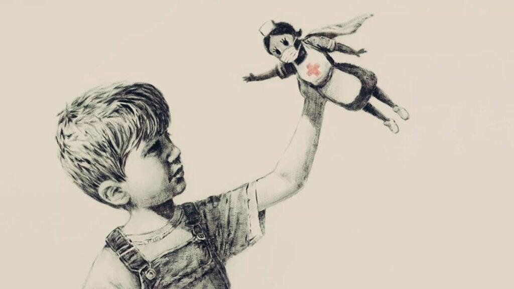 Niño con enfermera representando las lecciones de vida de Bansky