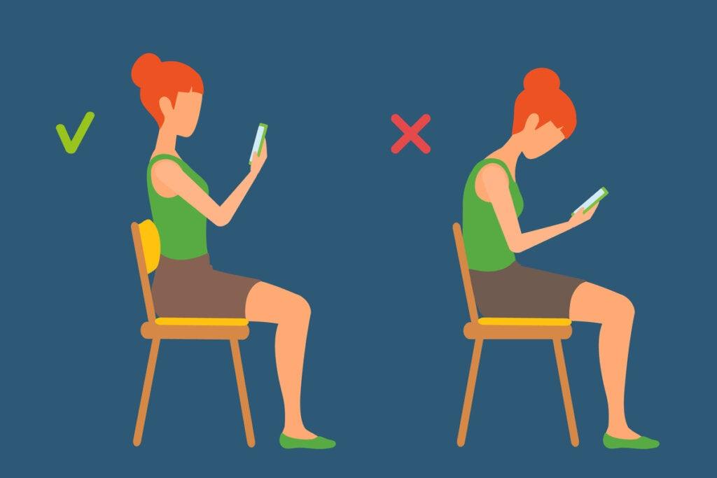 Postura correcta e incorrecta al mirar el móvil