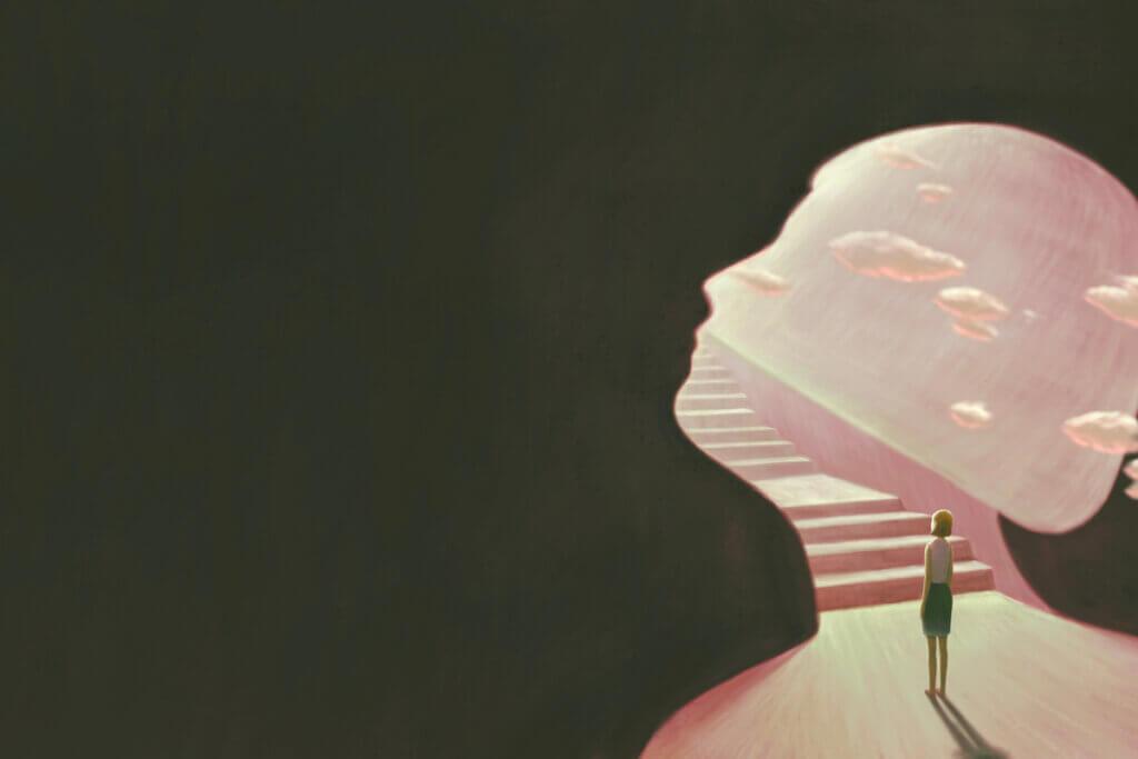 Mente con nubes y escaleras para representar el subconsciente