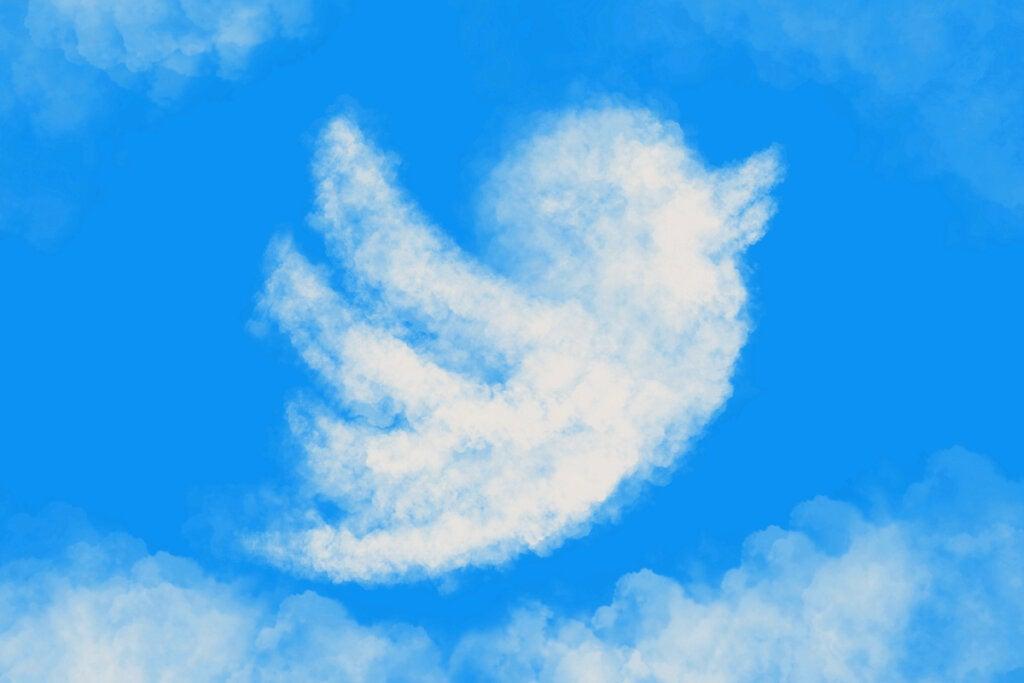 Nube con forma de pájaro de Twitter
