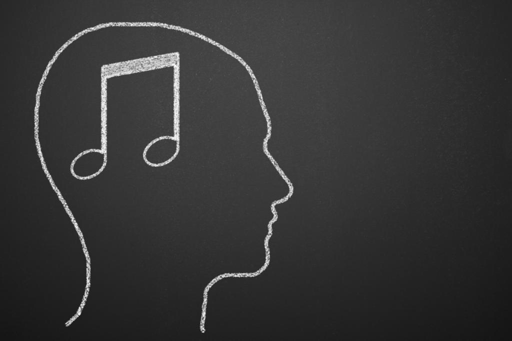 Mann med musikknote i hjernen