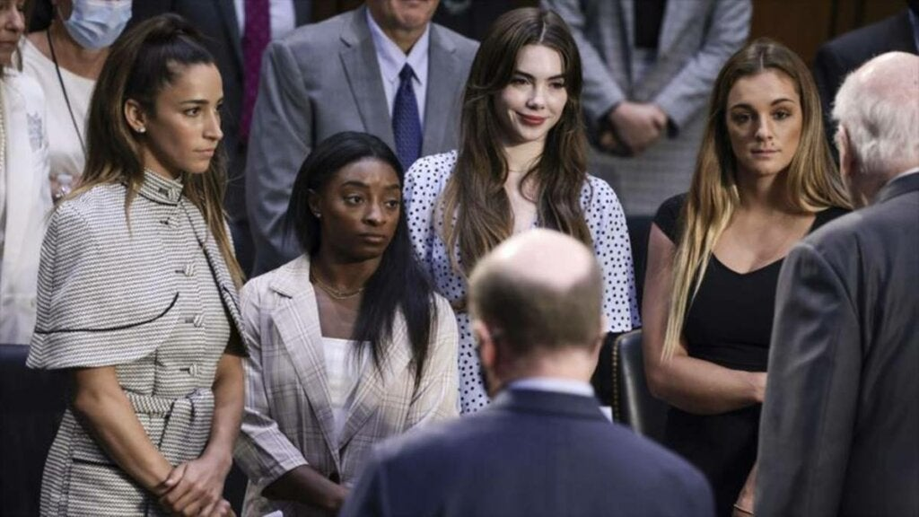 Simone Biles and other gymnasts testifying about their sexual abuse
