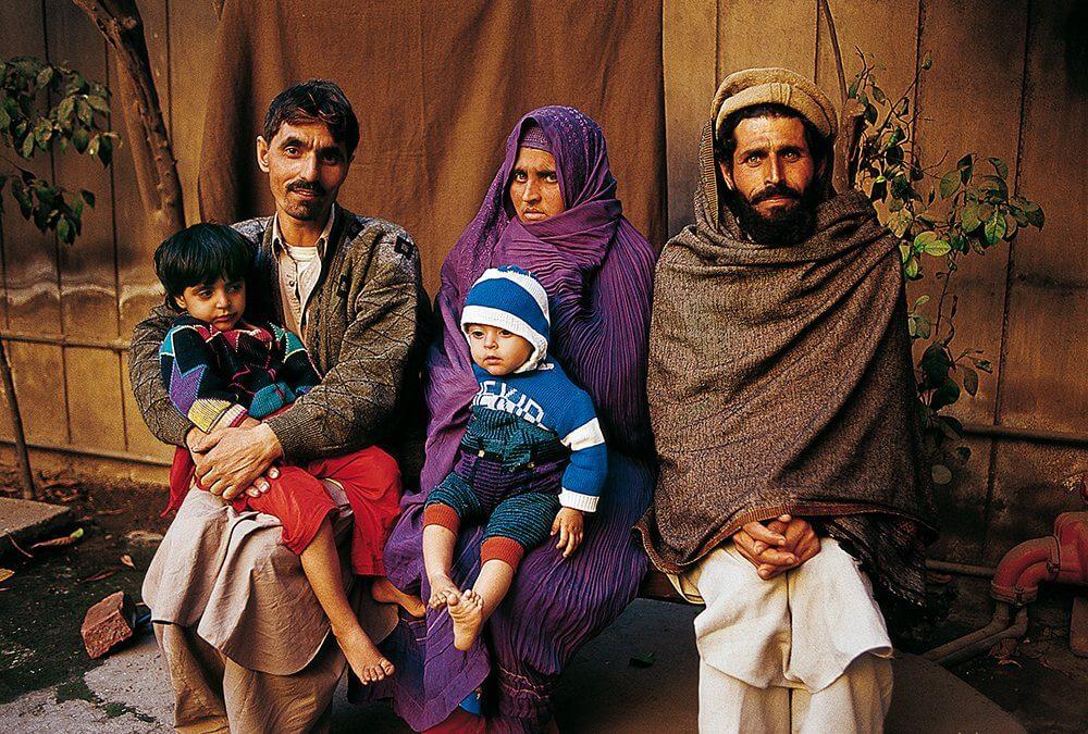Sharbat Gula e la sua famiglia.