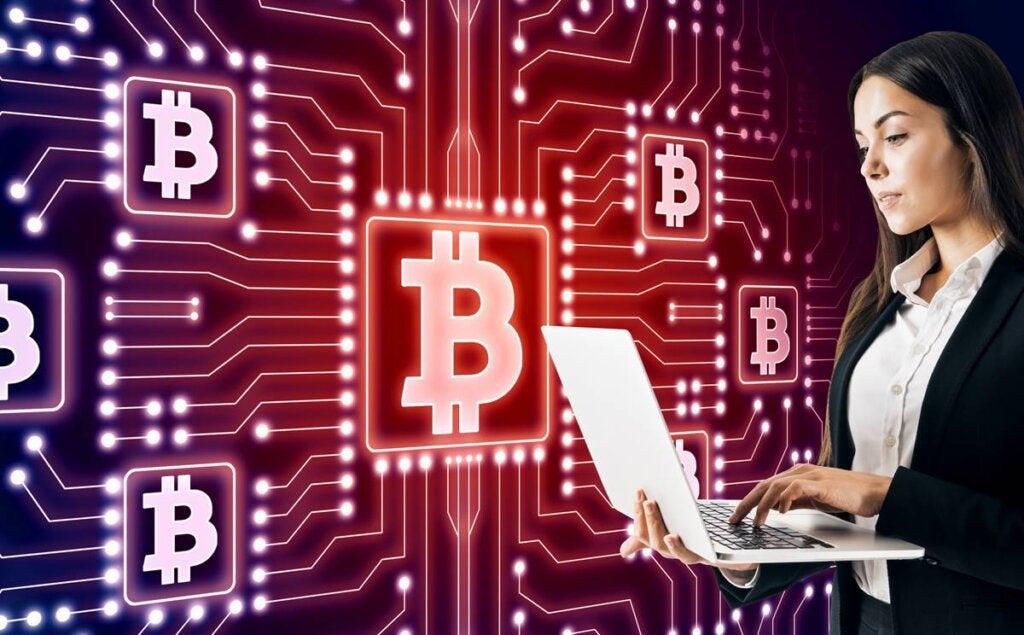 Garota investindo em criptomoedas