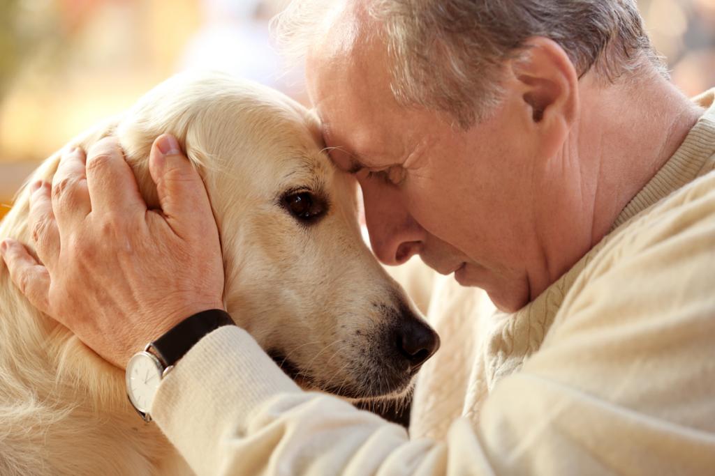 Hombre mayor con un perro